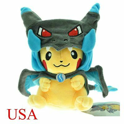 "9"" Pokemon Blue Mega Pikachu Charizard Hat Pocket Monster Plush Toy Stuffed Doll"