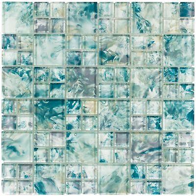 Modern French Pattern Turquoise Glossy Glass Mosaic Backsplash Tile MTO0112 - Mosaic Patterns