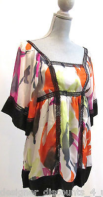 PEPPE PELUSO Sheer lace Boho Babydoll retro kimono sleeve Top shirt blouse sz M