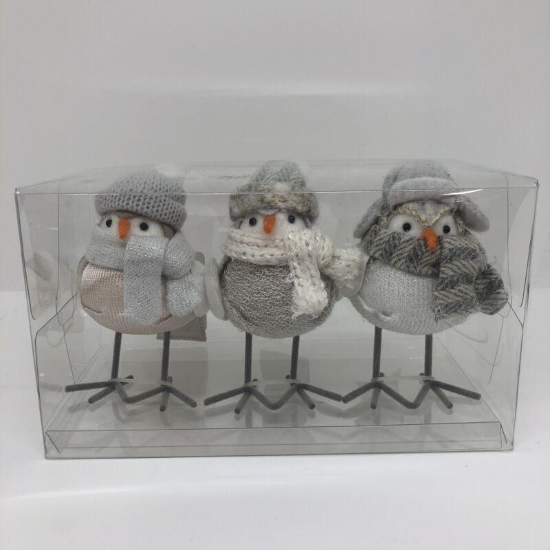 Wondershop 3pk Winter Birds Decorative Figurine Set Neutral Color Target 2021