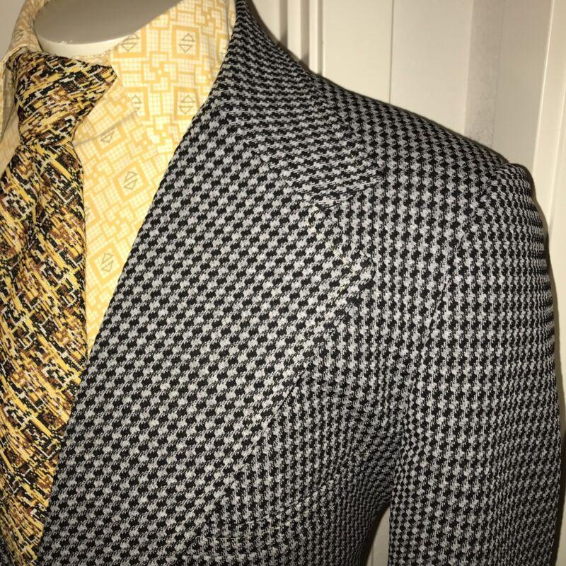 Vtg 60s 70s Gray POLYESTER Mens 46 Leisure Suit Coat Jacket Disco Blazer RETRO