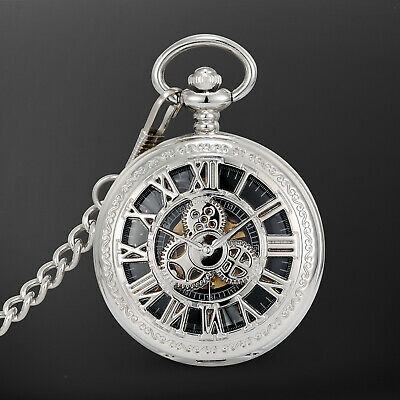 Mechanical Pocket Watch Black Dial Hollow Design Roman Numeral Classic Dress Black Roman Numeral Pocket Watch