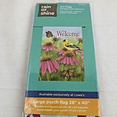 - Porch Flag Welcome Flowers Butterfly Bird Goldfinch Large 28 x 40 Yard House Art