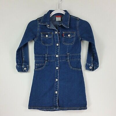Levis Jeans for Girls Long Sleeve Snap Front Dress Size 6 Blue Denim Jean ](Denim Dress For Girls)
