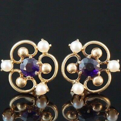 Beautiful, Solid 14K Yellow Gold, Pearl & 2.0 ct. Amethyst Estate Stud Earrings