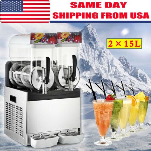 2 x 15L Slushy Machine Slush Making Machine Frozen Drink Smoothie Maker 500W