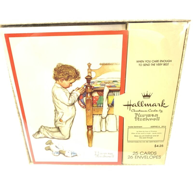 Vtg Box Hallmark Christmas Cards Norman Rockwell Praying Child 25 Cards Unused