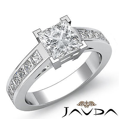 4 Prong Channel Set Princess Diamond Engagement Anniversary Ring GIA H SI1 1.5Ct