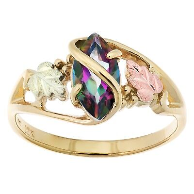 Black Hills Gold mystic fire topaz ring womens whole & half sizes 5 6 7 8 (Mystic Green Fire Topaz Solitaire)