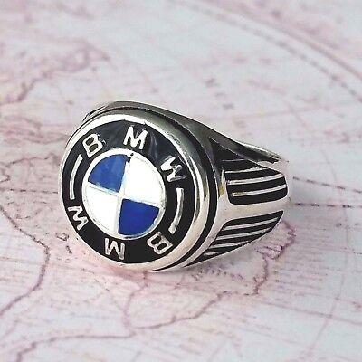 BMW massiv 925 K Sterling Silber Herrenring Edelstein