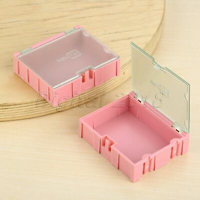 2pcs Durable Pink Plastic Electronic Component Parts Case Storage Box Organizer