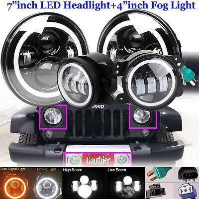 """7""""LED Halo Headlight+Fog Light DRL Combo Lamp Kit For Jeep Wrangler JK 2007-2019"""