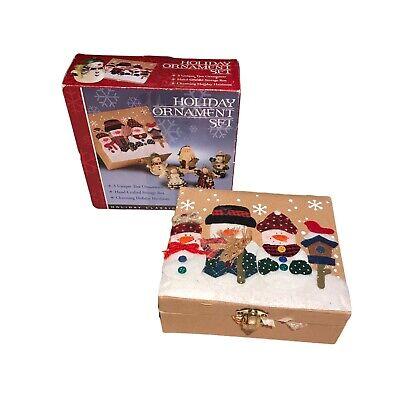 Holiday Treasures Hand Crafted Set (Box & 5 Resin Christmas Tree Ornaments) NEW