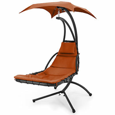 Hanging Chaise Lounger Chair Arc Stand Air Porch Swing Hammock Canopy Orange
