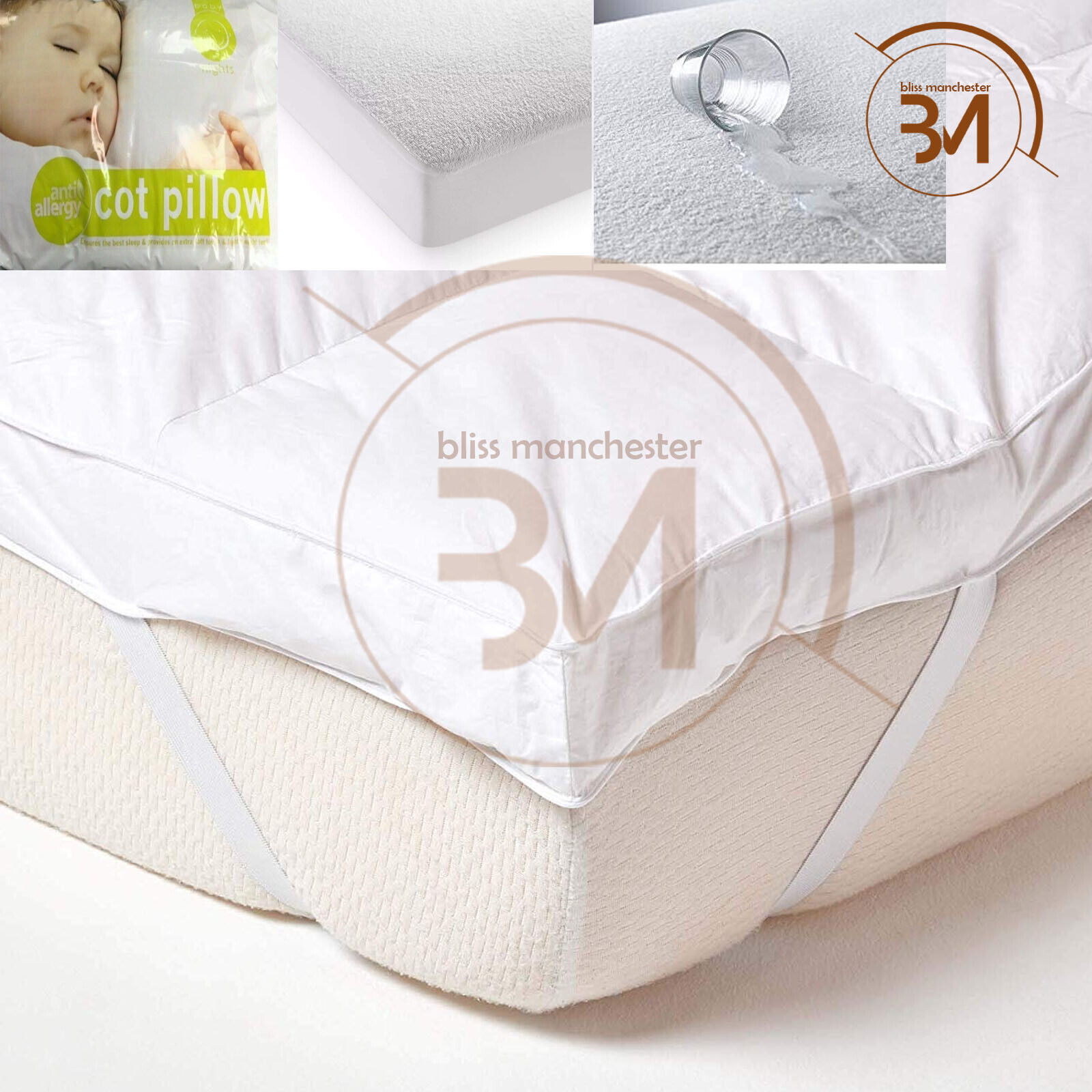 """4/"""" LUXURY MICROFIBER MATTRESS TOPPER WARM DEEP BED TOPPERS ALL SIZES 4 inch NEW"""