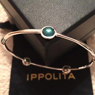IPPOLITA Rock Candy Wonderland 5 Stone Bangle 925 Sterling Silver Bracelet Kelly