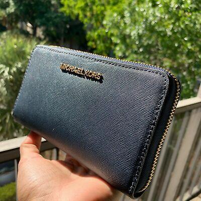 Michael Kors Women Leather Zip Around Card Holder Wallet Purse Phone Case Clutch
