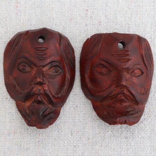 2 Mini Vintage Mexican Carved Wooden Guerrero Masks Christmas Ornament Pendants