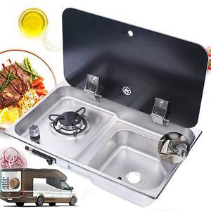 Caravan RV Camper Boat Gas Stove 1 Burner Stoves Sink Combo w/ Faucet+Glass Lid