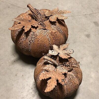 Outdoor Thanksgiving Decorations (2 Very Rustic Metal Pumpkin Harvest Fall Thanksgiving Outdoor Yard Garden)
