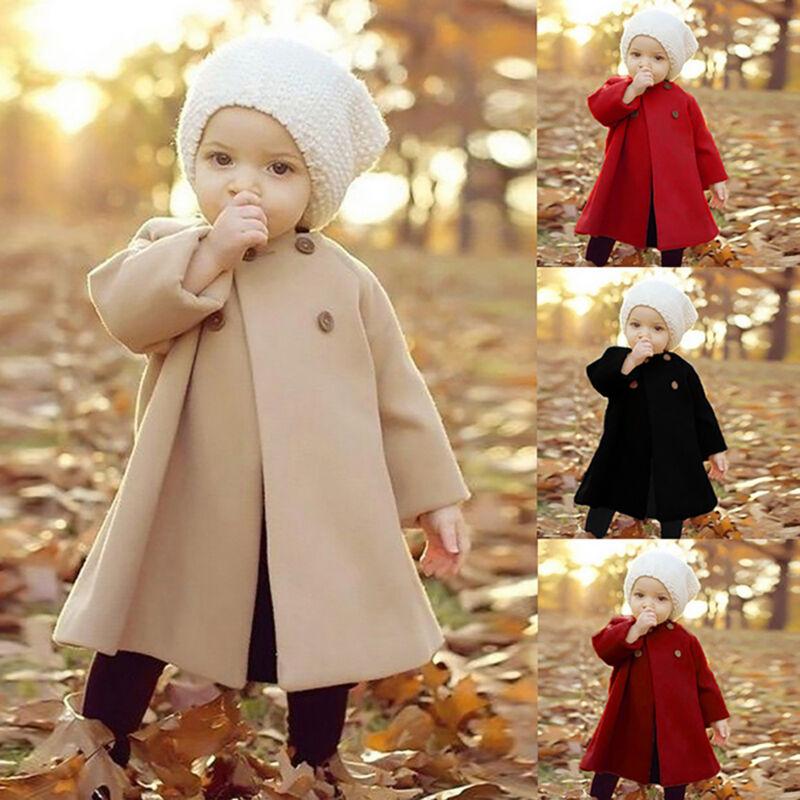 Kinder Baby Mädchen Trenchcoat Winter Warm Hoodie Jacke Mantel Parka 1-5 Jahre