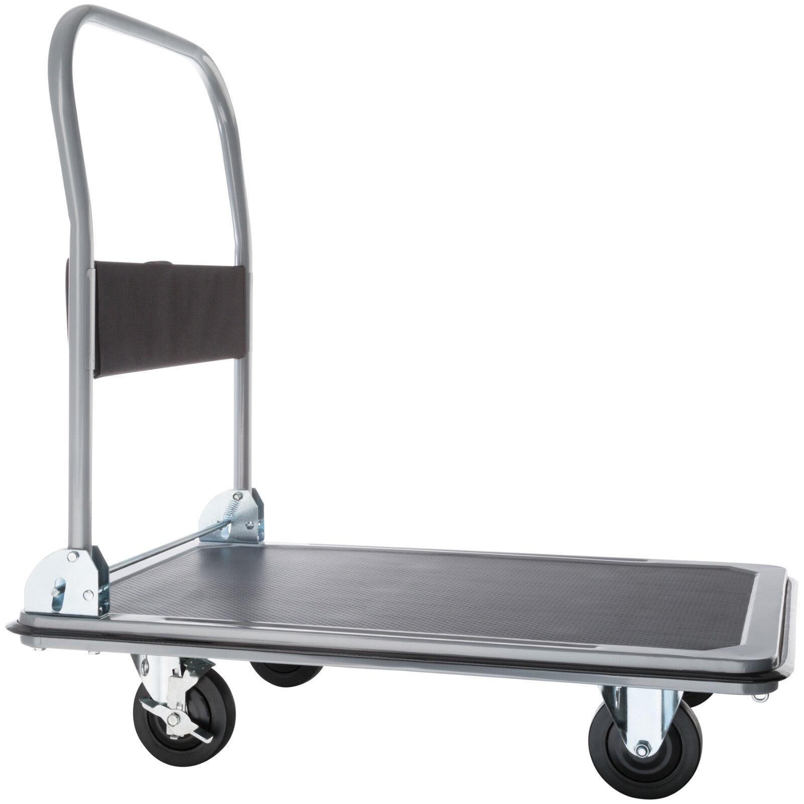 Carrello a pianale manuale da trasporto pieghevole carrelli pianale nero 300kg
