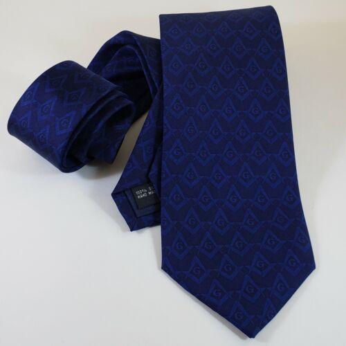 Masonic Tie Blue Tone on Tone Silk Square & Compasses Freemason Mason