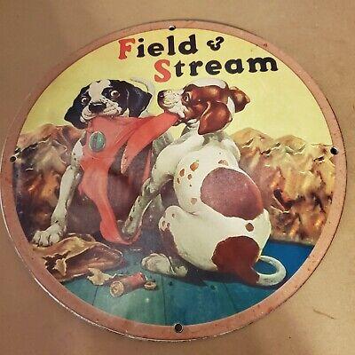VINTAGE PORCELAIN FIELD & STREAM BEAGLE HUNTING HOUND DOG MAN CAVE GARAGE SIGN