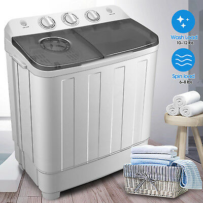 17lbs Portable Washing Machine Compact Mini Twin Tub Laundry  Washer Spin (Portable Laundry)