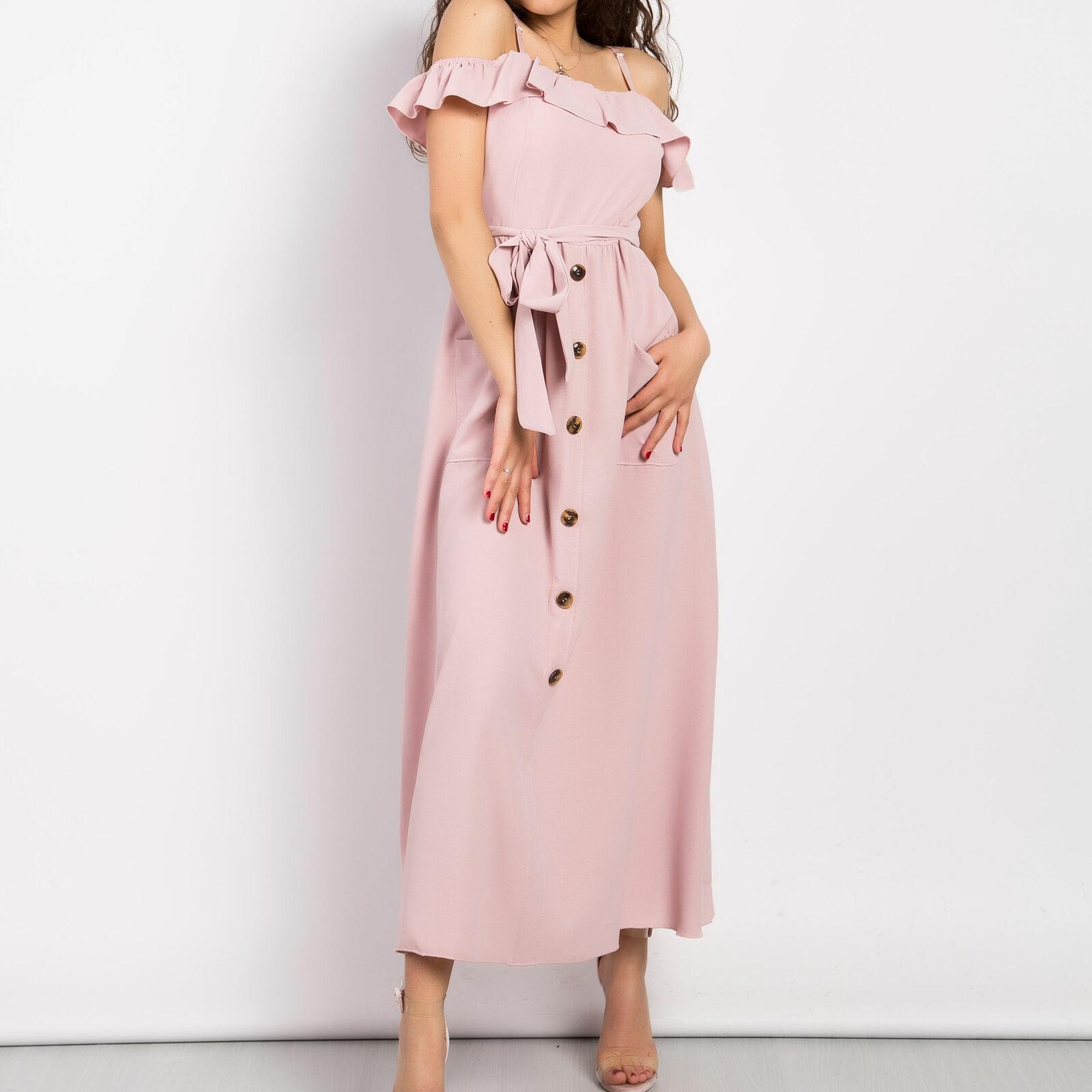 Vestito donna abito lungo scollato bandeau zingara gonna svasata bottoni 12172
