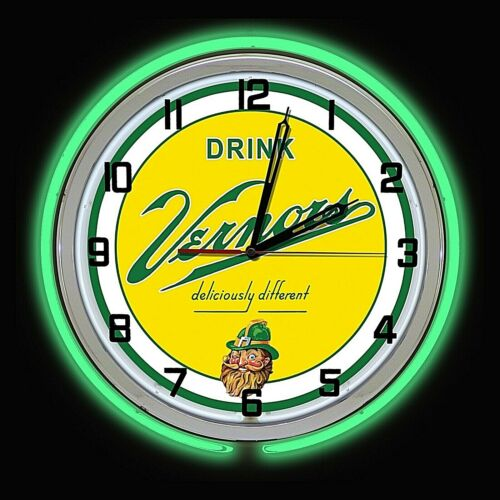 """19"""" VERNORS Deliciously Different Ginger Ale Sign Green Double Neon Clock"""