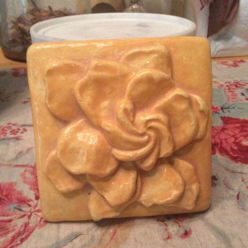 Soft Yellow Magnolia Art Tile Handmade