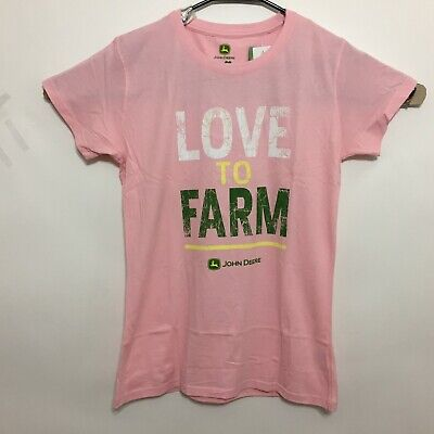 Color Womens Pink T-shirt (John Deere Womens T-Shirt Love To Farm Tee Color Light Pink )