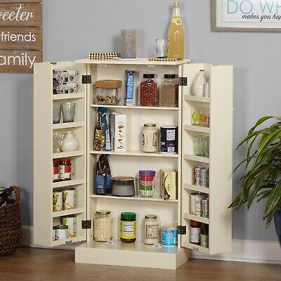 Kitchen Storage Unit Pantry 2 Door Shelves Organizer Shelving Cabinet Off-White Kitchen Shelving Unit