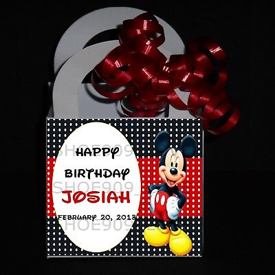Mickey Mouse 12 Personalized Favor Boxes, Birthday Party ** Ribbon Included** - Mickey Mouse Party Bags