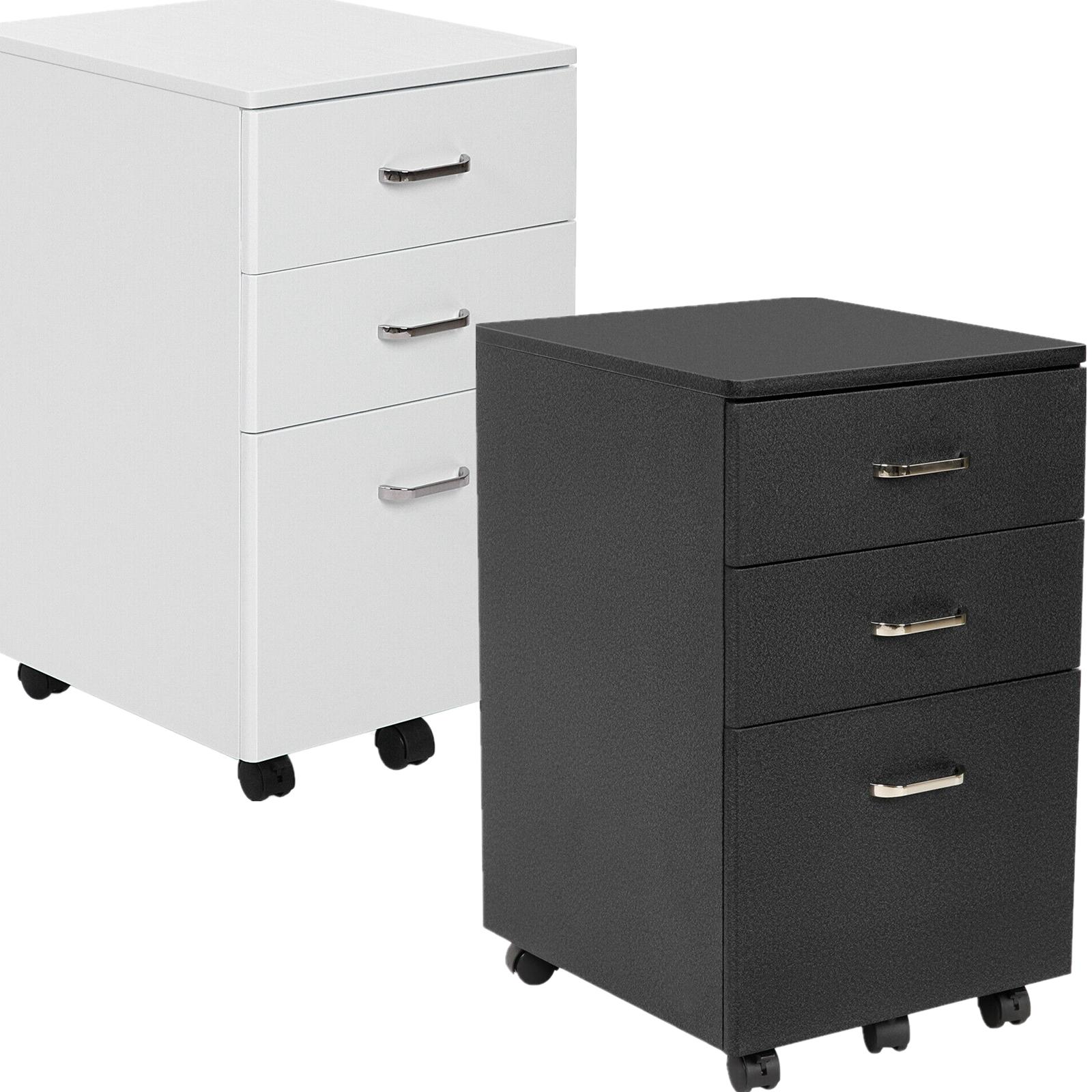 """Stahl Büro Rollcontainer Bürocontainer /""""NEU/"""" 505801 schwarz Buche Platte"""