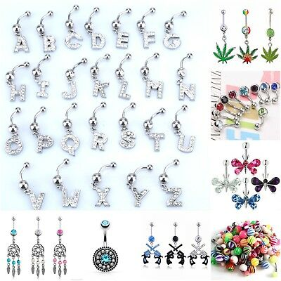 - Navel Belly Button Rings Assorted Style Body Piercing Jewelry Dangle Bar Barbell