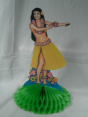 1978 Beistle Hula Island Wahine Girl Honeycomb Tissue Standing Table Centerpiece