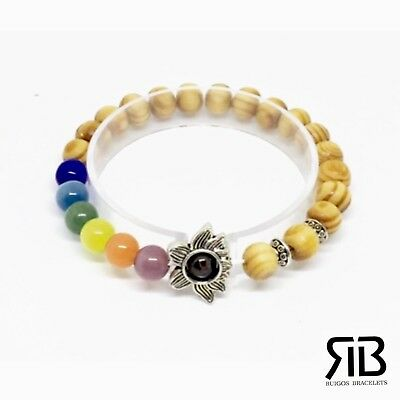 Women's Chakra Bracelet Tiger Eye Cat Eye Beads Lotus Flower Elastic Stretchy Cat Eye Flowers Bracelet