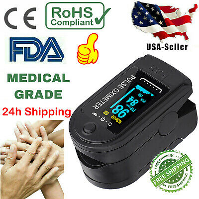 Us Pulse Oximeter Fingertip Blood Oxygen Spo2 Monitor Pr Pi Heart Rate Fda Ce