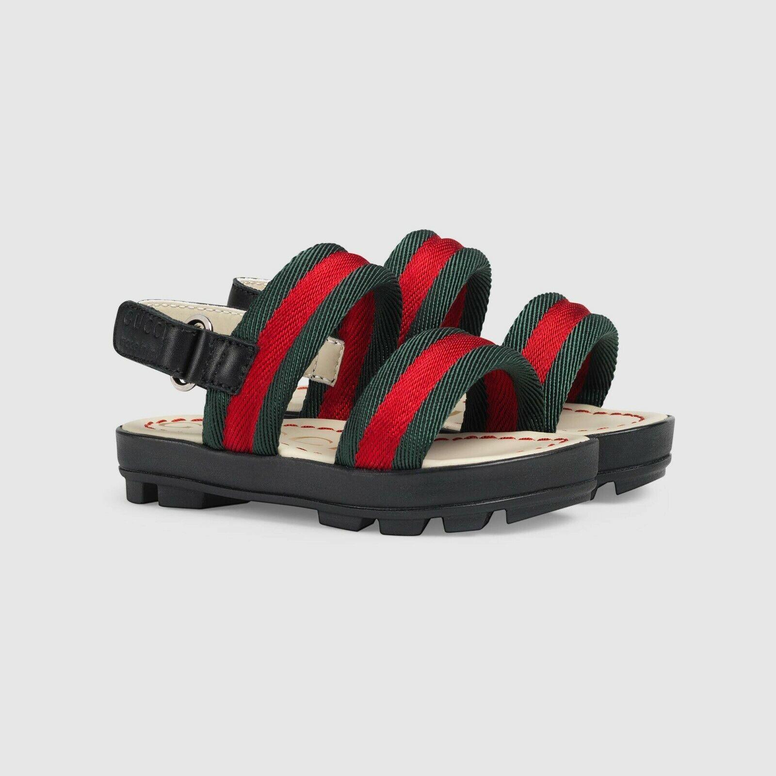NIB NEW Gucci boys girls black green red web sandals 20 23 24 501058