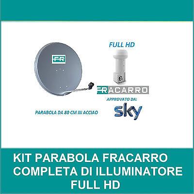 KIT PARABOLA DA 80CM + ILLUMINATORE FRACARRO HD APPROVATO DA SKY