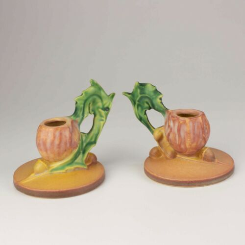 Roseville Pottery Poppy Candle Holders, Shape 1129, Coral Pink