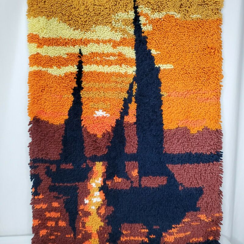 Sailboat Sunset Latch Hook Wall Hanging Orange Yellow Brown Vintage Complete