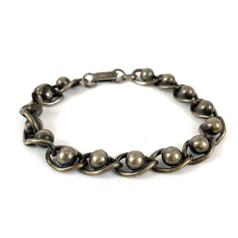 """Vintage Modernist Design Metal Link Bracelet Round Orb Accents Bronze Color 8"""""""