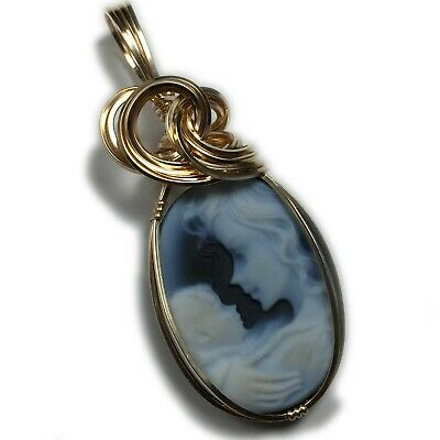 Cameo Pendant 14K Gold Filled - Mother and Child Jewelry w/ Necklace 1825G3-6 (Gold Mother Child Jewelry)