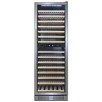 160 Bottle Dual Zone Compressor Freestanding Touch Control Wine Cooler Chiller