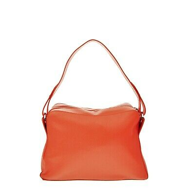 RRP€410 ORCIANI Leather Shoulder Bag Grainy Panel Zip Closure Made in Italy