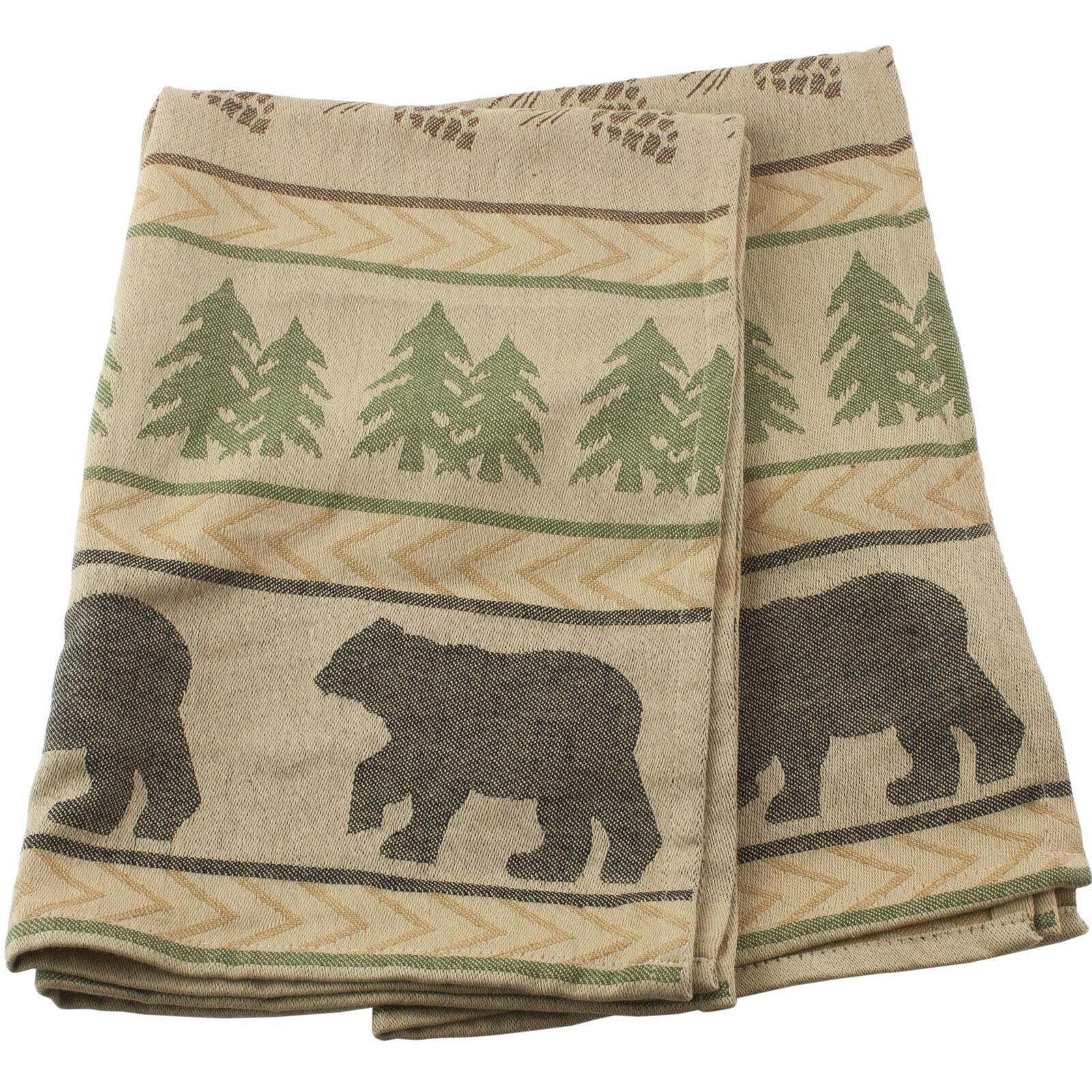 Park Designs Bear Tracks Kitchen Dish Towel Jacquard Pinecone Set of 2