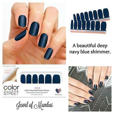 Color Street Jewel of Mumbai 100% Nail Polish Strips Retired Deep Navy Shimmer